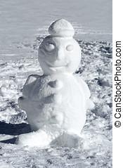 mignon, puits, formé, hiver, bonhomme de neige