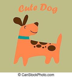 mignon, puppy., chien, ou