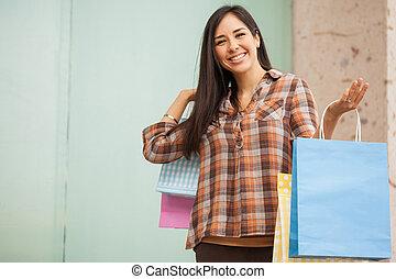 mignon, quelques-uns, achats femme, centre commercial