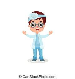 mignon, réflecteur, otolaryngologist, garçon, frontal, docteur, illustration, vecteur, professionnel, habillement, jouer, gosse