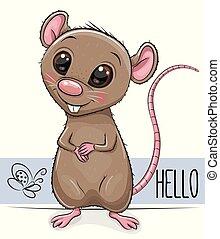 mignon, rat, blanc, isolé, fond