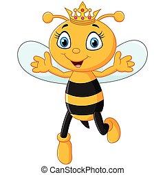 mignon, reine abeilles, hand's, haut, isolé, o