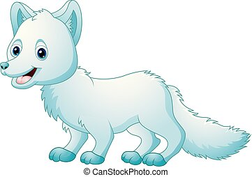 mignon, renard arctique, dessin animé, marche