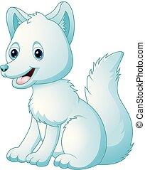 mignon, renard arctique, dessin animé, séance