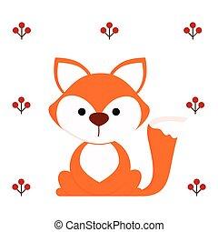 mignon, renard blanc, fond