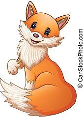 mignon, renard, dessin animé