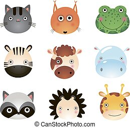 mignon, renard, hippopotame, vache, chat, animaux, animals., grenouille, girafe, zebra, raccoon., dessin animé