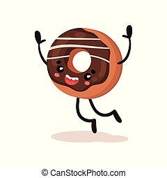 mignon, rigolote, beignet, humanized, dessert, dessin animé, caractère, vecteur, illustration, sur, a, fond blanc