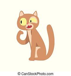 mignon, rigolote, caractère, illustration, chat, vecteur, fond, blanc, dessin animé