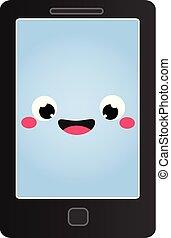 mignon, rigolote, mobile, caractère, téléphone., sourire, dessin animé, smartphone.