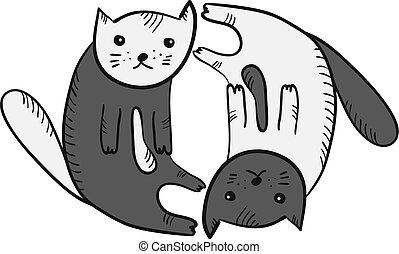 mignon, rigolote, yan, symbole, yin, chats, dessin animé