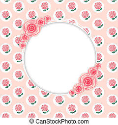 mignon, rose, cadre, illustration, vecteur, fleurs