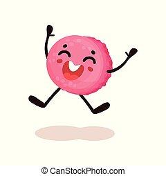 mignon, rose, vitré, beignet, à, face souriant, rigolote, humanized, dessert, dessin animé, caractère, vecteur, illustration, sur, a, fond blanc