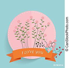 mignon, ruban, coeur, illustr, vecteur, floral, carte, bouquets