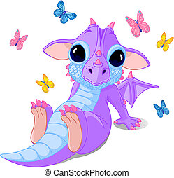 mignon, séance, bébé, dragon