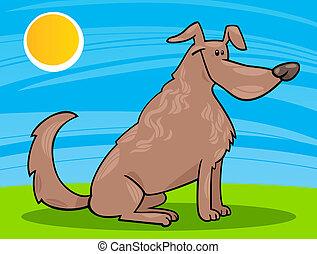 mignon, séance, dessin animé, illustration, chien