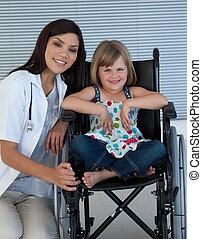 mignon, séance, fauteuil roulant, docteur, femme, girl