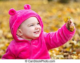 mignon, séance, feuilles, automne, dorlotez fille