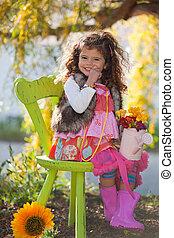 mignon, séance, nature, dehors, enfant, chaise, heureux