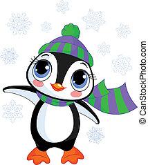 mignon, s, chapeau, hiver, manchots