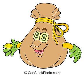 mignon, sac, argent