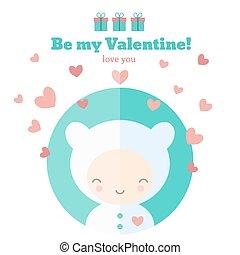 mignon, saint-valentin, carte, enfant