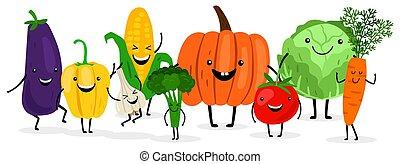 mignon, saison, légumes, isolé, illustration, backgroung., blanc, récolte, dessin animé