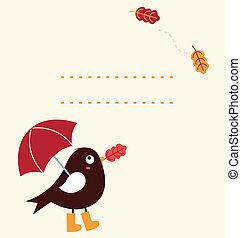 mignon, ), (, salutation, dessin animé, automne, vecteur, oiseau, carte