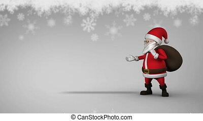 mignon, santa, animation, espace, message, copie,...