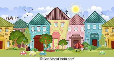 mignon, seamless, arbres, maisons, conception, vous, frontière