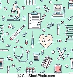 mignon, seamless, clinique, thermomètre, vérifier haut, icônes, diagnostique, modèle, hôpital, -, texture, présentation, business, microscope, répété, ligne, illustration., monde médical, vecteur, mince, stethoscope.