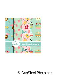mignon, seamless, collection, stylisé, motifs, arbres, oiseaux