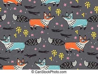 mignon, seamless, modèle, à, rouges, bleu, foxes., vecteur,...