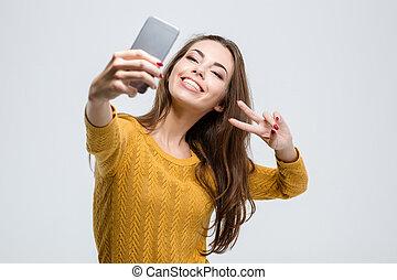 mignon, selfie, femme, confection, photo