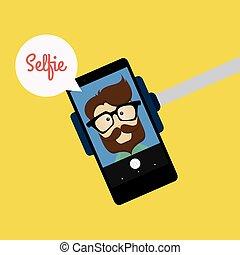 mignon, selfie, fond