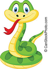 mignon, serpent vert, dessin animé