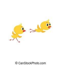 mignon, set., vecteur, caractères, poulet, dessin animé