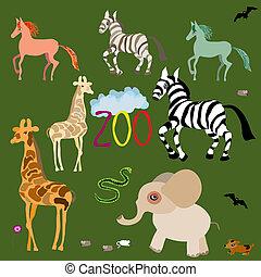 mignon, set., zoo., vecteur, illustration, animal