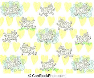 mignon, sheeps, modèle, à, nuage, sur, jaune, cœurs, fond