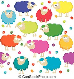 mignon, sheeps, seamless, fond
