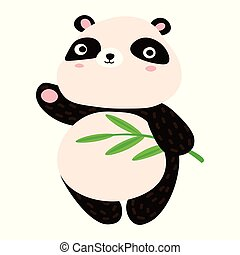 mignon, sien, patte, cartoon., doux, onduler, panda