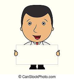 mignon, signe, tenue, vide, homme affaires, dessin animé