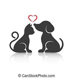 mignon, silhouettes, chien, chat