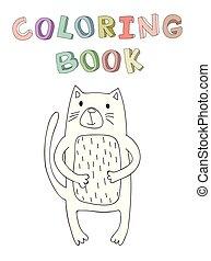mignon, simple, caractère, isolé, illustration, chat, vecteur, dessin animé, style.