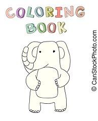 mignon, simple, caractère, isolé, illustration, dessin animé, vecteur, éléphant, style.