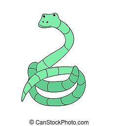 mignon, simple, caractère, isolé, illustration, dessin animé, vecteur, serpent, style.