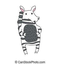 mignon, simple, caractère, isolé, illustration, dessin animé, vecteur, zebra, style.