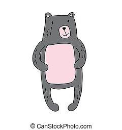 mignon, simple, caractère, isolé, ours, dessin animé, vecteur, illustration, style.