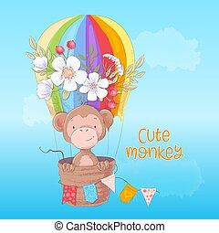 mignon, singe, carte postale, affiche, balloon, main, drawing., dessin animé, fleurs, style.