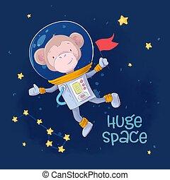 mignon, singe, espace, carte postale, affiche, constellations, main, drawing., astronaute, étoiles, dessin animé, style.